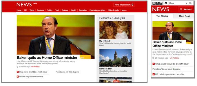 BBC News website on desktop computer and on mobile